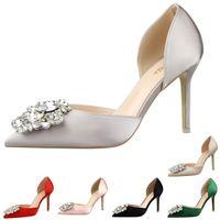 diamante shoes - Wedding Bridal Bride Shoes Women Ladies Rhinestone Diamante Pointed Toe Satin stiletto High Heeled Pumps Heels For Bridesmaid Wedding shoe
