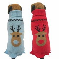 Wholesale New Qualified Dog Clothes Pet Winter Woolen Sweater Knitwear Puppy Clothing Warm Deer Head High Collar Coat dig6225