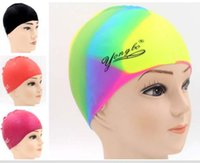 Wholesale Silicone swimming caps Waterproof swimming hats for Men and Women Hair care protect ears sports pool swim cap for Adult Colors