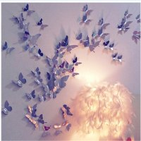 Wholesale Cute Funny D Butterfly Mirror Wall Stickers Butterfly Docors Art Decor Party Home Decor Wall Decor