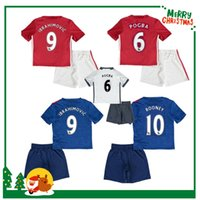 Wholesale 16 IBRAHIMOVIC POGBA kids boy kit United Soccer Jerseys Uniforms HOME RED SCHWEINSTEIGER ROONEY Manchesterees Football shirts