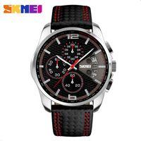 auto racing business - SKMEI Fashion PU Leather Band Waterproof Analog Men Wrist Watch Business Race Speed Car Style Wristwatch