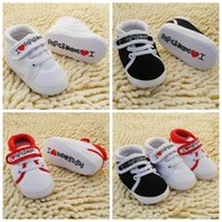 baby love walker - 0 M Toddler Newborn Shoes Baby Infant Kids Boy Girl I love papa mama walker shoes Soft Sole Canvas walk shoes by dhl