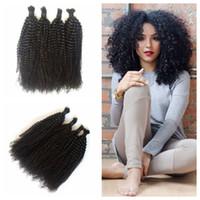 Wholesale 100 Human Hair Braiding Bulk Kinky Curly No Weft Mongolian Hair Bulk Natural Black