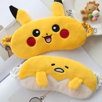 Wholesale 3D Cartoon Poke Pikachu Soft Eye Sleep Mask Padded Shade Cover Rest Travel Relax Blindfold ICe Eye Mask Health Eyes Care HH M01