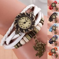 auto cupid - New Style Ladies Leather Women Watches With Handcraft Flower Cupid Bracelet Dress Wristwatch Bracelet Quartz Watch Hand Knit