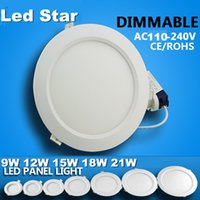 Dimmable led encastré bas éclairage 6w 9w 12w 15w 18w 21w led downlights plafond lumières ac 110-240V + drivers