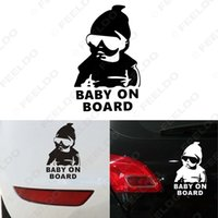 auto sticker baby - 50 x Black White Car Styling Accessories Baby On Board Funny Car Cartoon Stickers Decals for Auto Styling