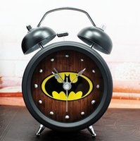alarm clock animation - Hero Batman animation film and television creative metal alarm clock with night light table watch home decor