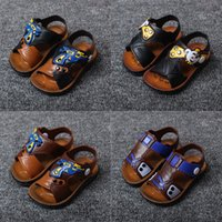 Wholesale 2016 Summer New Baby Sandal Antiskid Soft soled Kids Children Boys Clogs Cartoon Cute Black Brown Dog Bear Stripe Shoes Summer Fashion