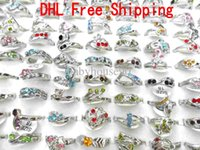 Wholesale New Crystal Diamond Rhinestone Rings Sizes Designs Mixed Silver Plated Wedding Engagement Ring for Women Ladies Good Quality