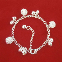 bell charm bracelet - New Retro National Wind Bracelet Fashion bells alloy plating thick Silver Bracelets for Women Bohemian National Wind Sphere jewelry