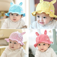 baby bunny ears hat - 2016 Brand Check Bunny Buckethats For Infant Baby Kids Spring Summer Cute Solid Plaid Rabbit Ear Brim Sun Hat Caps Children Cotton Beanies