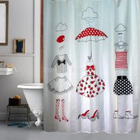 Wholesale Shower Curtain Fashion Dress Cartoon Fitting Room Bathroom Waterproof Mildewproof Polyester Fabric With Inch Hooks