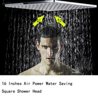 Cheap Air powered water saving square bath shower modern ceiling mounted 16 inches brushed mirror overhead shower bathroom accessories