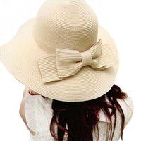 Wholesale New Summer Style Women Folding Summer Beach UV Cap Wide Brim Bowknot Floppy Straw Sun Hat QJ