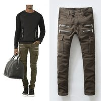 Wholesale New High quality brand biker jeans balmain men s jeans coffee elastic draped jeans men slim feet denim trouser plue size BM054