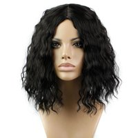 Wholesale Classic Fashion Womens Lady s Cheap Wig Short Curly Black Hair Wigs Full Wigs Heat Resistant Synthetic Hair