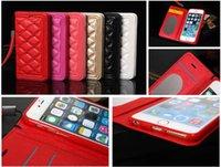 al por mayor las mujeres protectores de iphone cartera-6s plus Marcas de lujo Remache la cubierta de cuero del tirón de la carpeta para el iPhone de Apple 6plus 6s más la mujer de la manera de 5.5