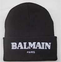 Wholesale Balmain Paris Beanie men s hats black Knitted Balmain Paris hats Beanies Hats Skull Cap Warm Winter Wool Caps For Unisex BM017