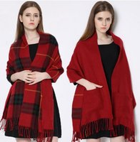 Wholesale New Winter Women Copy Cashmere Shawls with Tassels X55cm Big Size More Thick Plaid Cozy Checked Tartan with Pockets