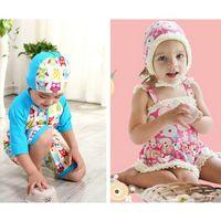 Wholesale Fashion INS New children s bikini swimsuit girls flowers falbala dress swimsuit boys owl pattern short sleeve kids beach swimsuit