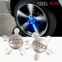 audi emblem light - 4 x Newest AUDI Car Wheel Center Emblem Lights Luminous Wheel Center Cap With Non Rotating Logo No Battery Powered By Driving Speed
