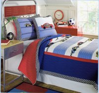Wholesale 173 cm Stitching Twin Quilt Set Pure cotton Patterned with Car bedspread and Pillow Case
