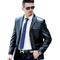 Wholesale Fall new arrival mens autumn and winter high quality faux leather jackets and coats lapel leather blazer