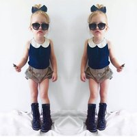 baby doll style tops - INS Summer Children Outfits baby girls lace doll collar navy blue Chiffon vest tops stripe shorts sets kids cotton clothing
