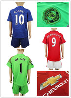 Wholesale 16 Kid s Soccer Suit Top Quality Manchester Soccer Jersey ROONEY IBRAHIMOVIC SHAW DEGEA MATA etc football shirt with shorts