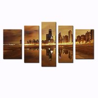 Cheap LK5110 5 Panel Wall Art Painting Las Vegas Nice Night Scene Pictures Prints On Canvas City The Picture Decor Oil For Home Modern Decoration