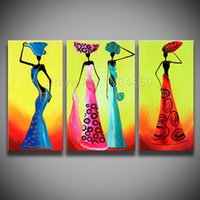 african dance pictures - Framed stretched hand painted African woman dancing figure landscape oil painting on canvas set wall art home decor picture