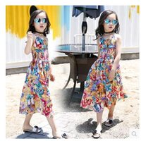 Wholesale Girls Summer Flower Jumpsuits Kids Bohemia Datongkuo leg Rompers Suspender Beach Casual Clothes