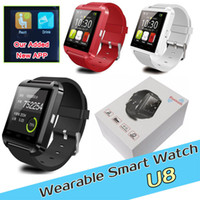 Wholesale Bluetooth U8 smartwatch Wrist smart Watch Smart watches waterproof for samsung Andriod phones iphone Samsung HTC black white red
