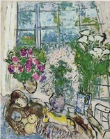 arts window frames - THE WHITE WINDOW By MARC CHAGALL High Quality Genuine Handpainted Abstract Art oil Painting On Canvas customized size