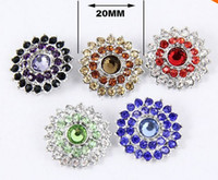 Wholesale 25pcs Mix Colors Fashion Metal Ginger Noosa chunks Rhinestone mm Snap Buttons For Bracelet Jewelry Findings