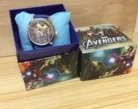 best watch box - relojes Marvel Avenger Watches pc Leather Quartz Cartoon Watch for Boy Kids Best Selling Children Watches with Gift Box Drop Shipping