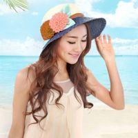 Wholesale Fashion Beautiful Womens Girl Flowers Brim Straw Cap Summer Beach Sun Hat New