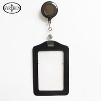 badge print company - Leather Id Holders Case Card set PU Business Badge Card Holder with Necklace Lanyard LOGO customize print company office supplies