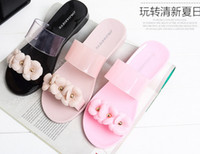 Wholesale New arrival hot sale Summer flowers candy flat sole jelly shoes sandals crystal slippers