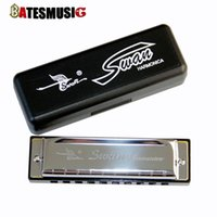 Wholesale Harmonica SWAN BLUES Hole Organ for Blues Rock Country Folk Jazz Melodica with case Brass stainless steel