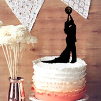 basketball birthday supplies - Silhouette Cake Topper Funny Broom and Gride Holding Basketball Wedding Cake Topper Unique Wedding Anniversary Cake Topper