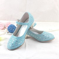Wholesale 2016 New Casual Children Sandals Girls In High Heels Princess Rhinestone Shoes Children Shoes White Flower Wedding Shoes Size