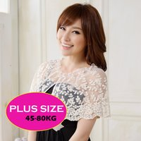 Wholesale Black White Size to w plus sizes women clothing sweety Princess Wedding Party Jackets Crocheted Lace dress shawl for marry