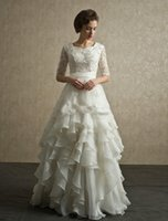 Wholesale Lace Organza A ine Wedding Dresses Modest Wedding Gowns With Short Sleeves Floor Length Applique Beading Beach Bridal Dresses