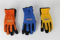 Wholesale Three Color Option Leather Fishing Outdoor Safe Glove Gardening Work Gloves M L XL Size