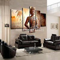 contemporary oil paintings - Hot Sell Handmade Buddha Religion Contemporary Art Canvas Paintings Large Buddha Modern Oil Painting For Living Room Wall Decor