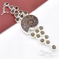 ammonite bracelet - 2PCS High Quality Oval Shaped Exclusive Excellent Natural Mystic Ammonite fossil Gemstone Chain Bracelet Russia Australia Jewelry