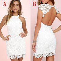 Wholesale Sexy White Lace Short Party Dresses Cheap Sleeveless Short Capped Two Styles Backless Mini Cocktail Dress Custom Made China EN7138